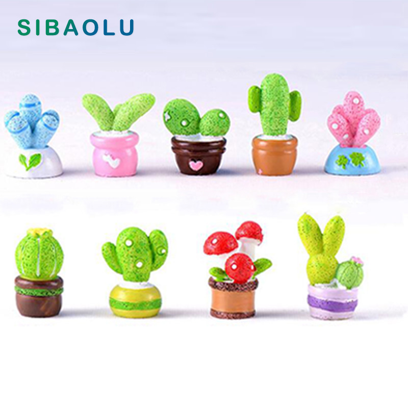 1pc Colorful Cactus Potted plant Miniature figures decorative fairy garden statue Home Desktop Gift Moss ornaments resin craft