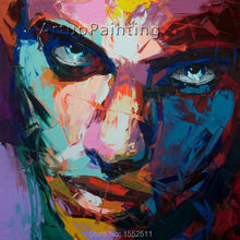 Palette knife painting portrait Face Oil Impasto figure on canvas Hand painted Francoise Nielly 14-11
