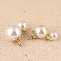 Gold Tone Alloy Caps Decorated White Round ABS Pearl Jewelry Charms 100PCs DIY Jewelry Findings Bracelet