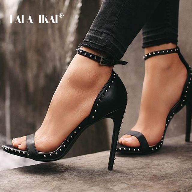 LALA IKAI Women Sandals High Heels Summer Thin Heel PU Leather Rivet Peep Toe Sexy Party Shoes Sandalia Feminina 014C1845-45