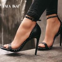 LALA IKAI Women Sandals High Heels Summer Thin Heel PU Leather Rivet Peep Toe Sexy Party Shoes Sandalia Feminina 014C1845 45