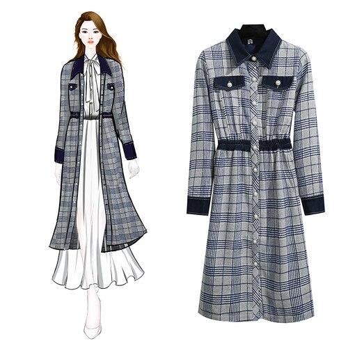 Korean Long Sleeve Women Dress Vintage Peter Pan Collar Plaid Dress Women Elegant Office Dresses Womens