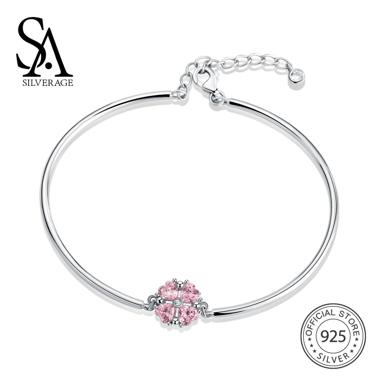 SA SILVERAGE Real 925 Sterling Silver Pink Clover Bracelets & Bangles Rhinestone Charm Bracelet 925 Silver Fashion Bangle Woman solid 925 sterling silver flower fashion charm biker bracelet bangle 9a017