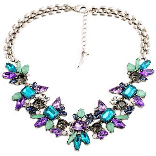 Женская Горный Хрусталь Цветок Кластера Биб Подвеска Choker Цепи Шарм Ожерелье BEJI