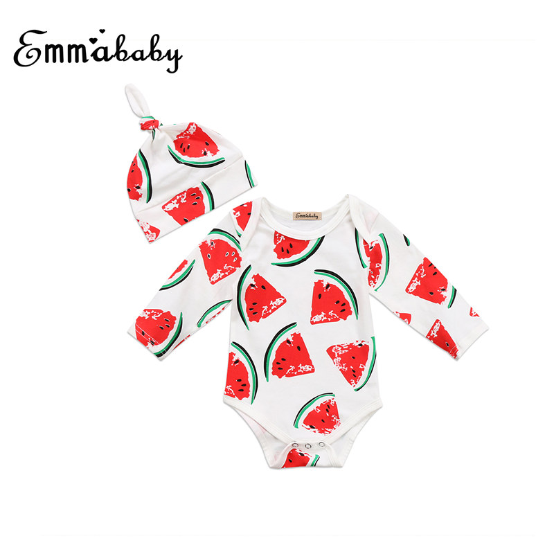 Newborn Baby Toddler Cute Boys Girls Clothes Fruits Printed Long Sleeve Jumpsuit Hat Outfit Set Clothing 2PCS Age 0-2T 2017 lovely newborn baby rompers infant bebes boys girls short sleeve printed baby clothes hooded jumpsuit costume outfit 0 18m