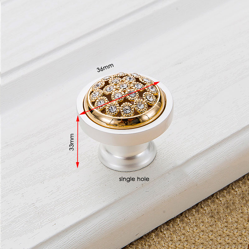 KAK хрустальные золотые дверные ручки с бриллиантами, роскошные цинковые ручки для ящика шкафа, европейские ручки для шкафа, мебельные ручки - Цвет: Handle-801G