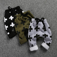 Hot On Instagram Children S Fashion Street Harem Sweatpants Cross And Star Print Thickened With Fleece