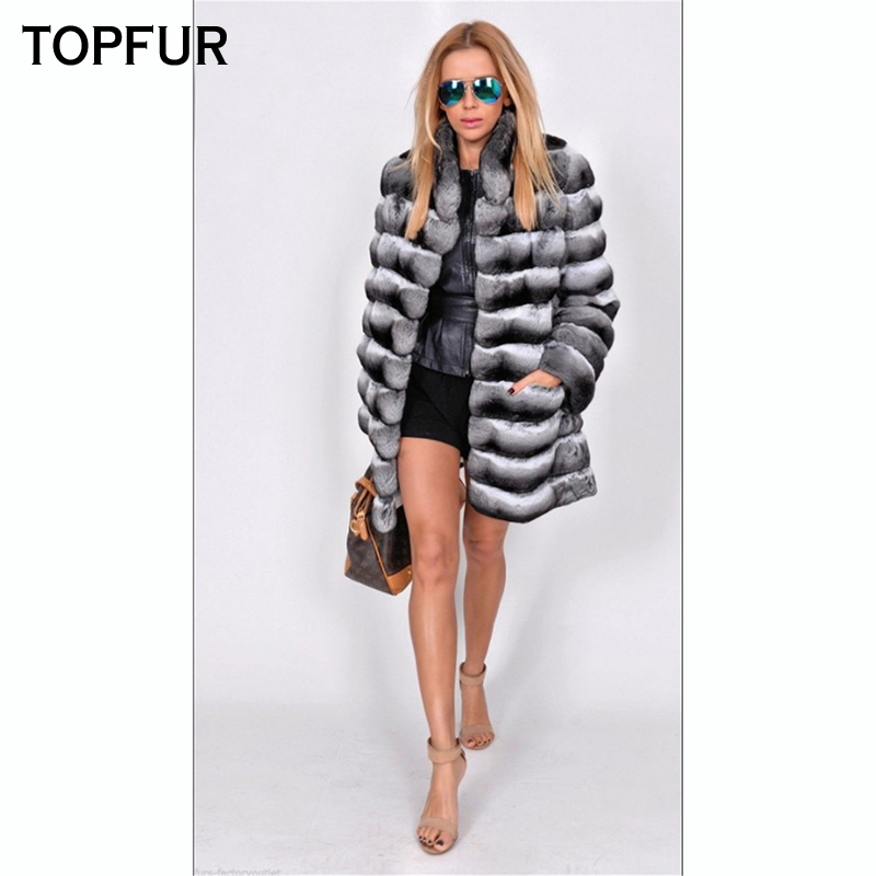 TOPFUR Fashion New Natural Real Fur Coat Women With Fur Collar Top Quality Winter Rex Rabbit Fur Coat Luxury Rex Rabbit Fur Coat