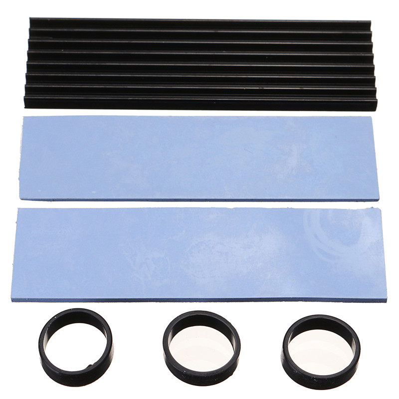 Aluminum Cooling Heat Sink Heat Dissipation Radiator M.2 NGFF NVMe 2280 SSD Thermal Pad for SM961 960PRO Black