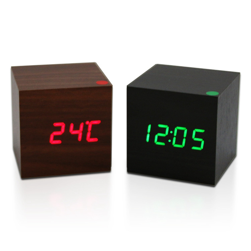 High Quality Smart Home Mini Digital Voice Control Cube Wooden Thermometer Date Display Alarm Clo Ck