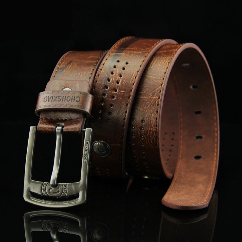 KAWEIDA Fashion Man 2018 Vintage Rivets Male Pin Buckle Belt Men's Trend PU Leather Cowboy Brown Belt For Jeans Presents For Men