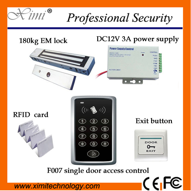 High quality cheap price without software with RFID card/180KG magnetic lock/power supply/exit button F007 access controller good quality fingerprint access control with smart rfid card reader mini power supply and 600lbs magnetic lock