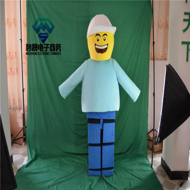 2017 nouveau Costume de dessin animé Lego mascotte carnaval costume taille personnalisée usine