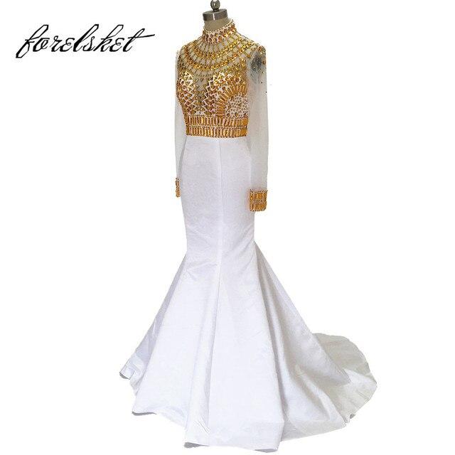 69b3efb6eb1166 Mermaid Avondjurken 2019 Wit En Goud Prom Dresses Met Mouwen Sheer Kralen  Formele Gowns Wedding Party