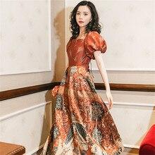 Brick Red Retro Printed Dress Summer Short Sleeve Palace Royal Princess Long Nightdress Woman Nightgowns QZ8010