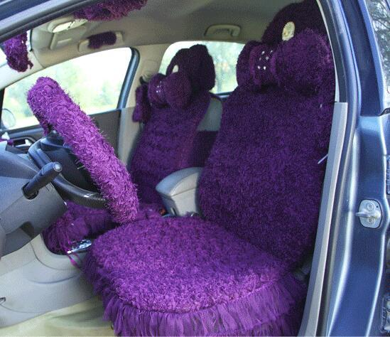 MeimeiBear Noble Mei Mei Bear Universal Car Seat Cover Velvet Lace Automobile Seat Cushion for Women 8pcs - Purple