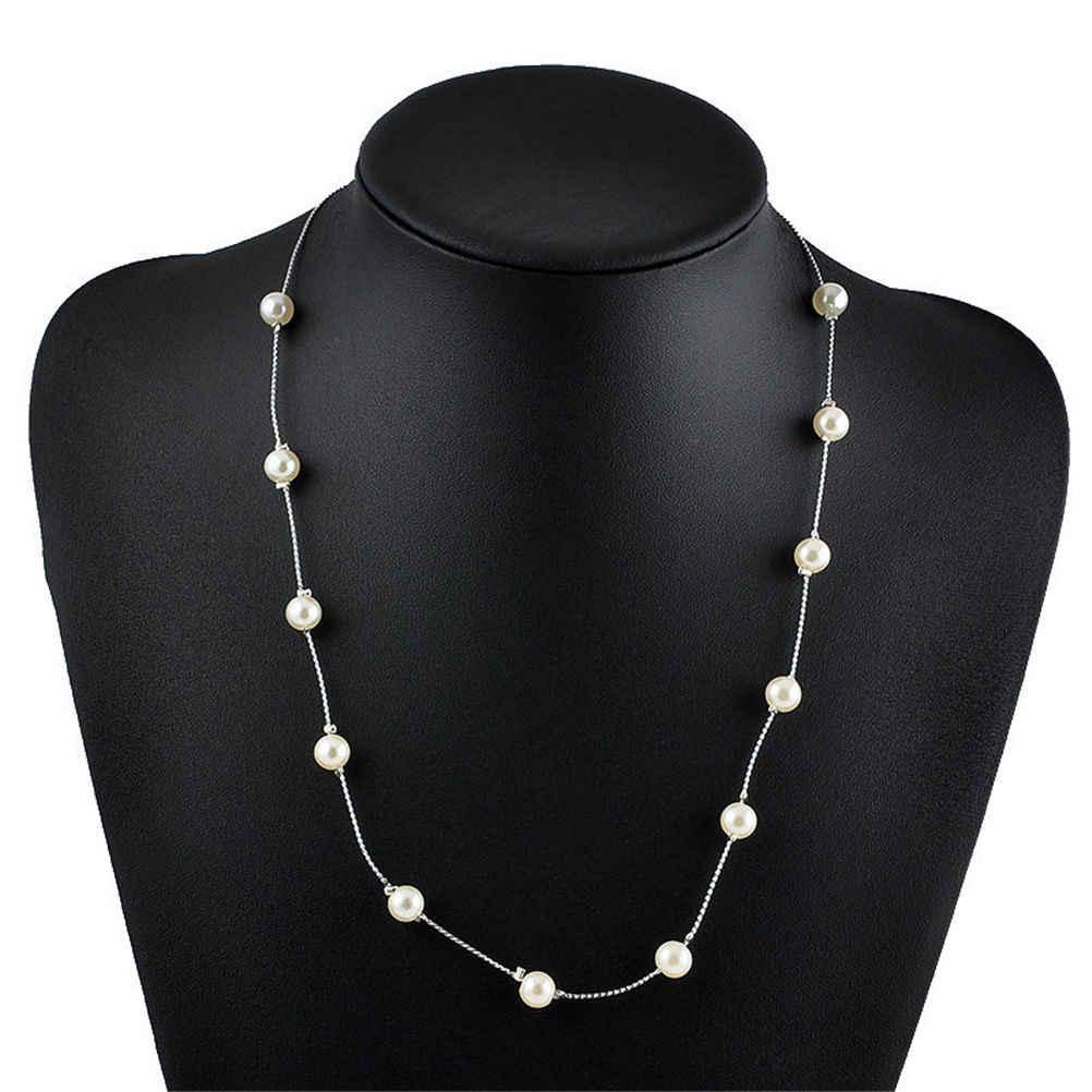 1Pcs  Simulated Pearl Choker Charm Jewelry Pendant Chain Chunky Bib Statement Necklace Women  Wedding Party Jewelry Gift