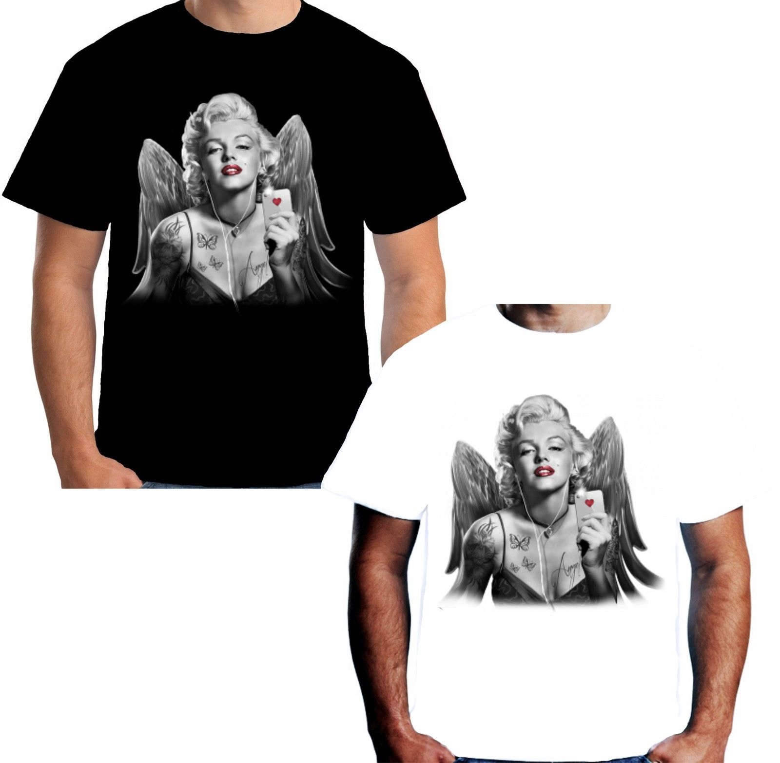 Short Sleeve T Shirt Funny Print Clothing Tops Hipster Fashion Marilyn Monroe Poker T Shirt Men High Quality Tees