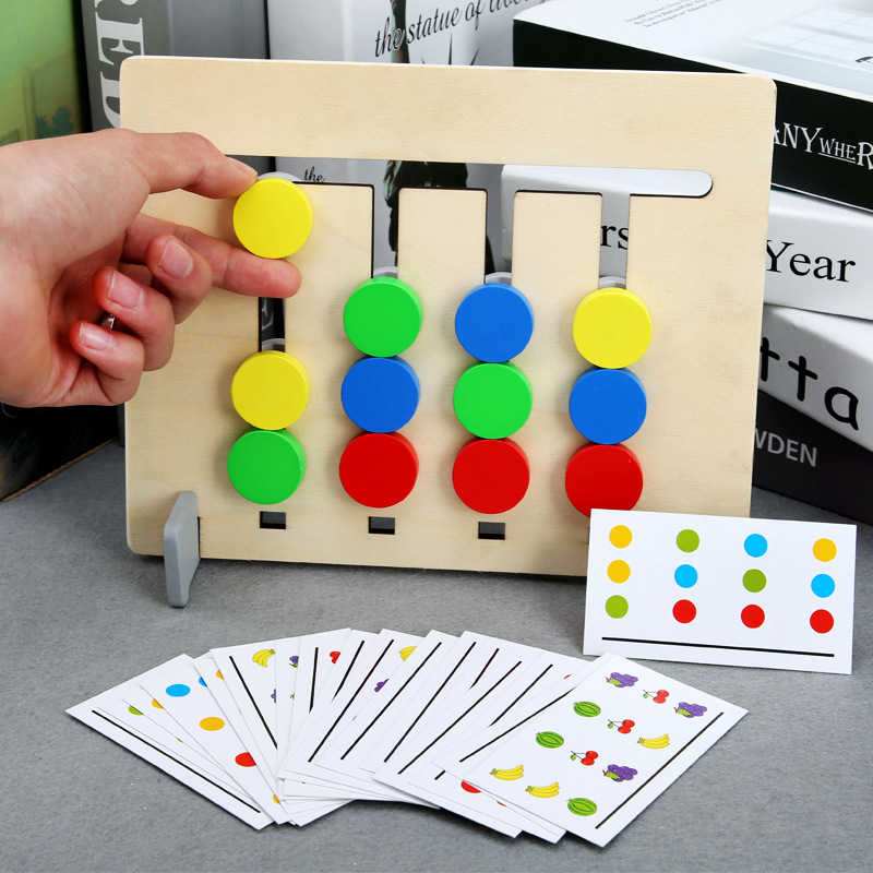 Montessori Materials Toy Four Colors Game Colors And Fruits Double Sided Matching Game Logical Reasoning Training Toys For  Baby