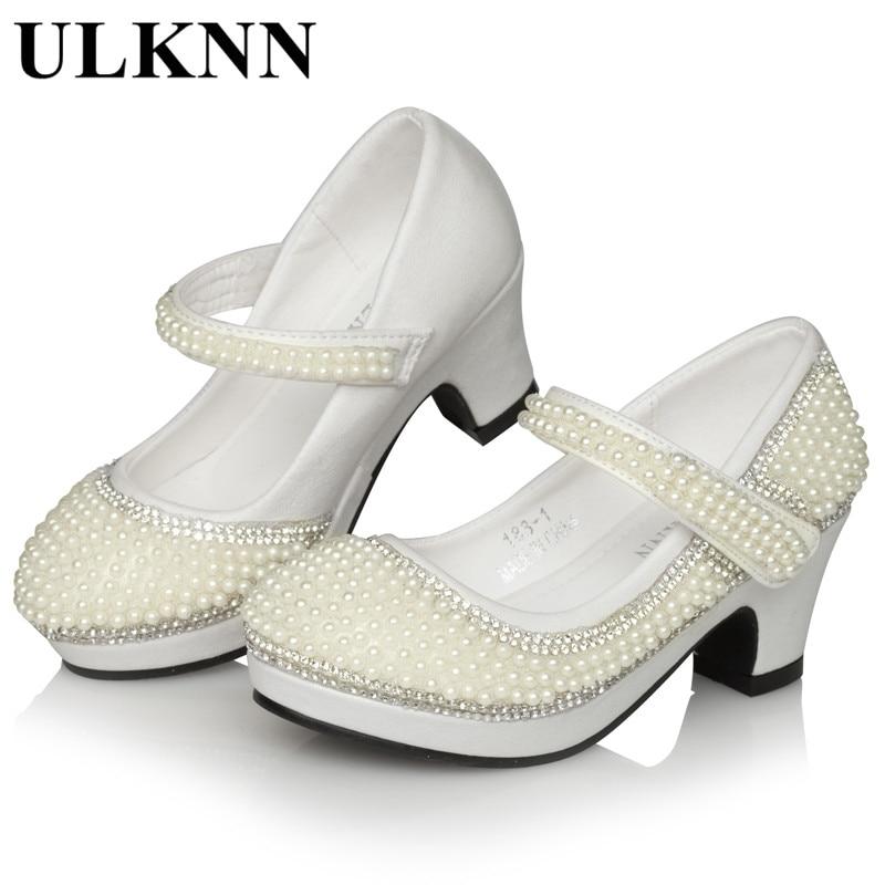 ULKNN  Girls Pear For High Heels Wedding Party Shoes Enfants Platform Children Princess Shoes Beaded White Kids hot sale