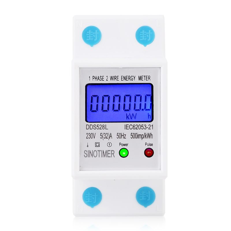 Backlit Single Phase Two Wire LCD Digital Display Wattmeter Power Consumption Energy Meter kWh AC 230V 50Hz Electric Din Rail digital lcd 230v 80a single phase din rail electricity kwh meter kilowatt bi103