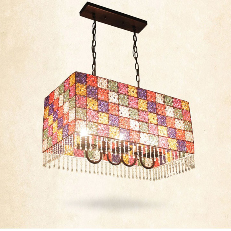 Modern Bohemia Mosaic Led Chandeliers Lustre Crystal Dining Room Led Pendant Chandelier Lighting Led Hanging Lights Fixtures