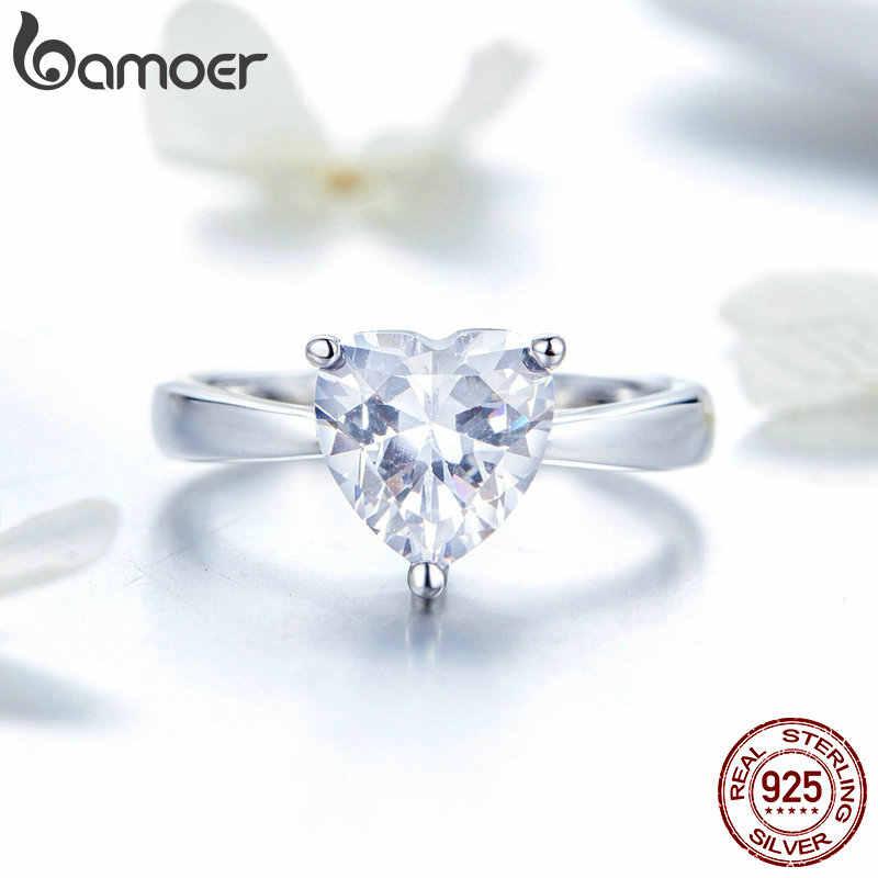 BAMOER Classic 925 เงินสเตอร์ลิง Cubic Zircon งานแต่งงานเจ้าสาวแหวนเงินเครื่องประดับ SCR496