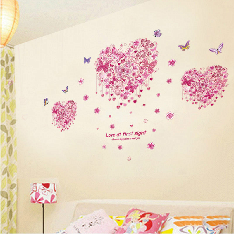 fantastic butterflies loving heart wall stickers girls bedroom decoration 3d mural art home decals valentine gift