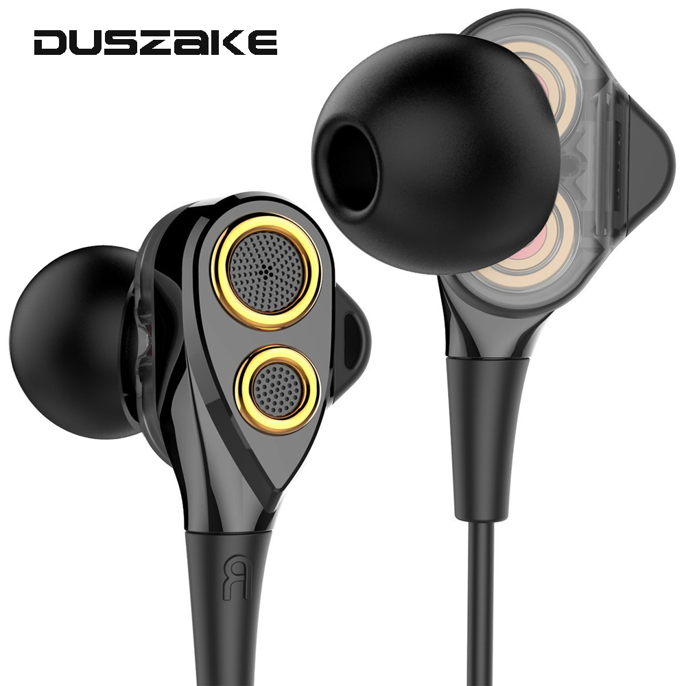 Dual Driver HiFi Headphone Stereo Bass In-Ear Wired Earphones for Phone 3.5mm Earbuds With Mic for iPhone Samsung Xiaomi Huawei