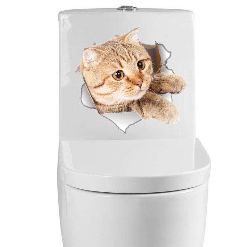 3D отверстие просмотра яркие Товары для кошек стены Стикеры Ванная комната туалет Гостиная холодильник украшения животных наклейки Книги п...