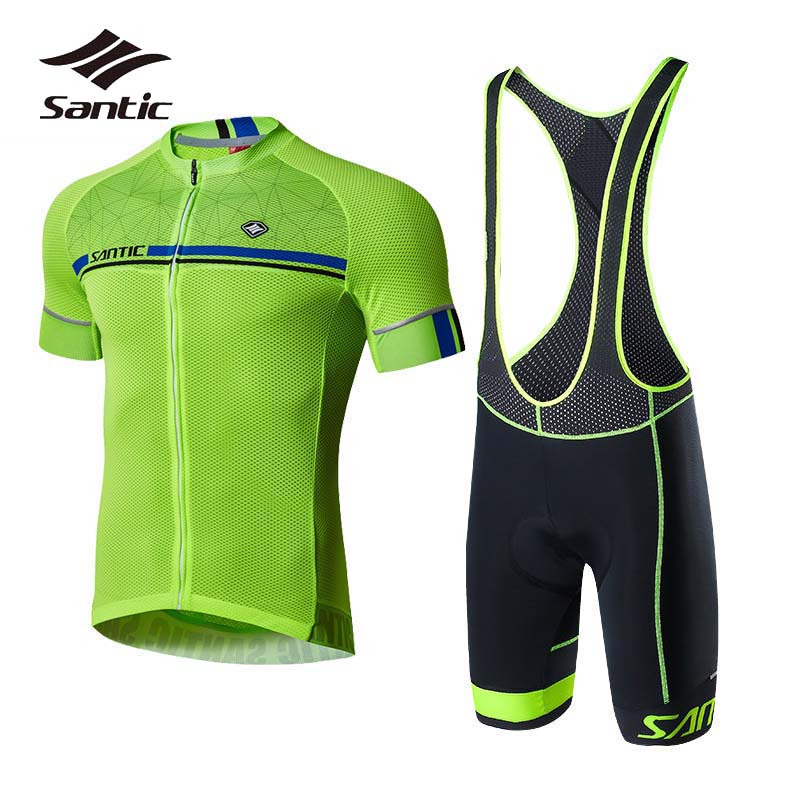Santic Cycling Jersey Sets 2018 Pro Team Cycling Clothing Kit Skinsuit Men Short Sleeve Bicycle Clothes Jersey Green Bike Sets santic cycling clothing women short sleeve breathable cycling jersey sets padded road mountain bike shorts 2018 bicycle clothes