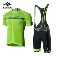 Santic Cycling Jersey Sets 2018 Pro Team Cycling Clothing Kit Skinsuit Men Short Sleeve Bicycle Clothes Jersey Green Bike Sets