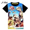 Novo 3-9Y verão tee moda dinosaur & Spider-Man estilo das crianças meninos t-shirt clássico do Mundo & parque Jurássico shorts para meninos da criança