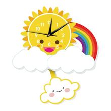 Fashionable Cartoon Sun Design Silent Wall Needles Clock Kids Children Living Room Bedroom Home Clocks Decoration Accessories