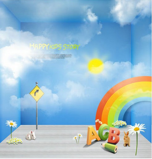 Rainbow Letter Of The Sun Cloud backdrops Vinyl cloth High quality Computer printed newborn baby Backgrounds for sale