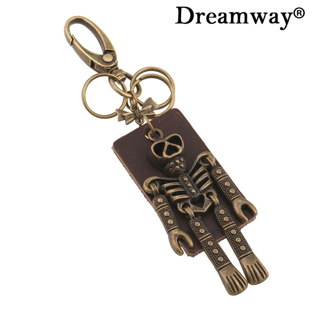 Personalized Punk Skeleton Keychain Vintage Skull Jewelry Mens Car Key Holder Womens Bag Charm Large