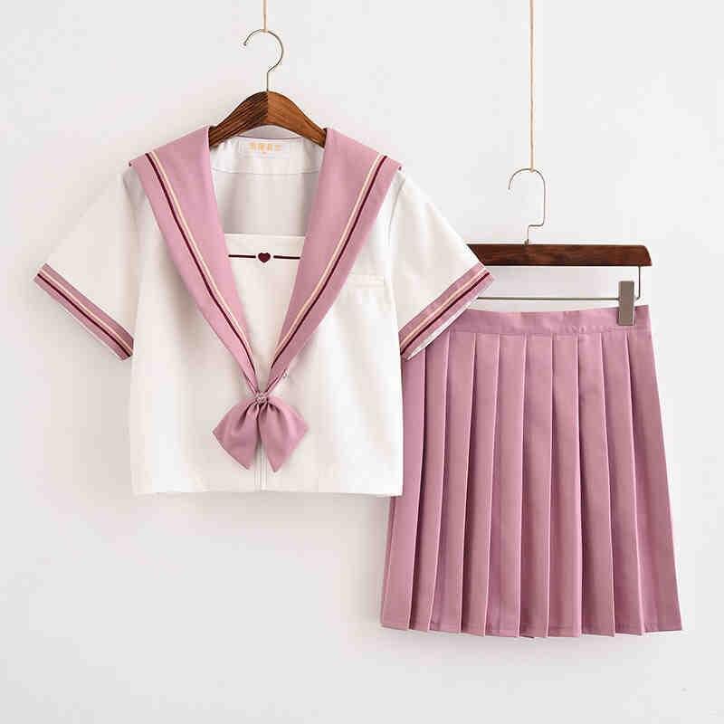 b39627fbc Nueva llegada japonés rosa blanco JK conjuntos uniforme de la Escuela de  las niñas Sakura Otoño de alta escuela mujeres trajes de marinero uniformes
