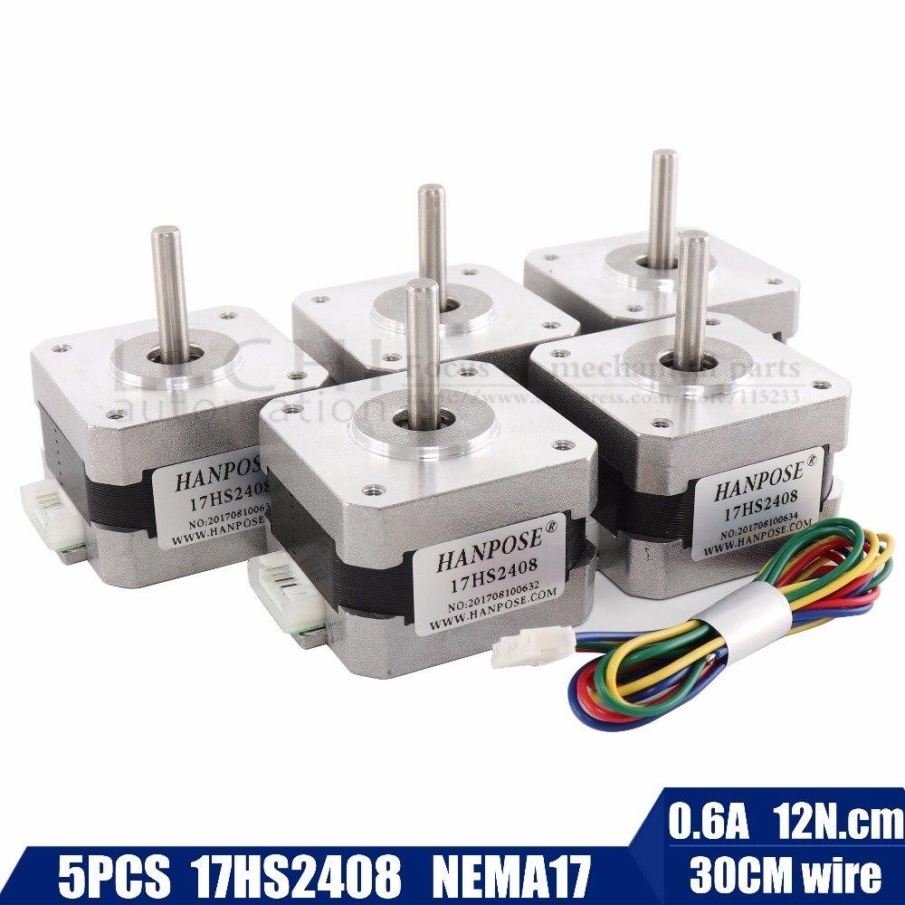 5 Pcs / Lots Nema17 17HS2408 4-lead Nema 17 Stepper Motor 42 Motor 42BYGH 0.6A CE ROSH ISO CNC Laser Grind Foam Plasma Cut