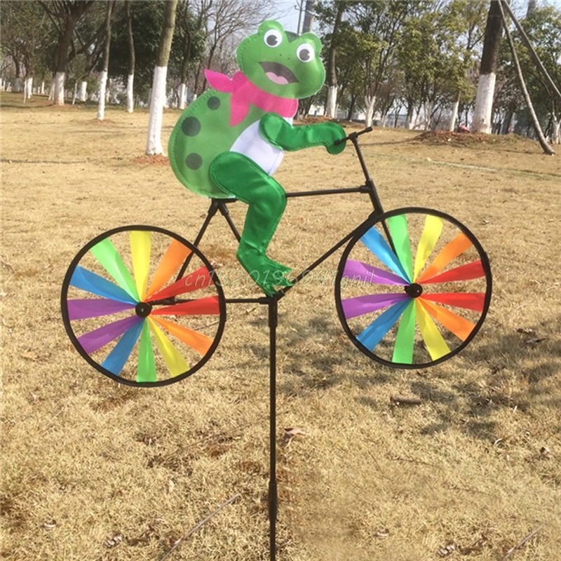Cute 3D Animal On Bike Windmill Wind Spinner Whirligig Garden Lawn Yard Decor#T025#
