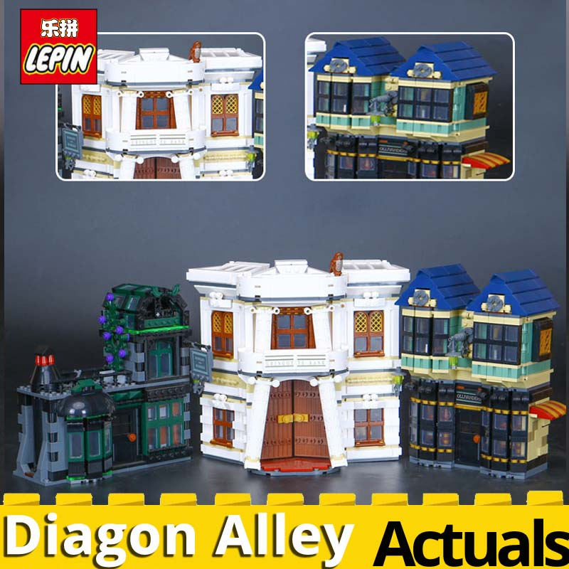 New Lepin 16012 Movie Series The Diagon Alley Set Building Blocks Bricks Educational Funny Boy Girl Toys for child DIY toy 10217 dhl lepin 16012 2025pcs movie series harry potter the diagon alley set 10217 building blocks bricks educational toys