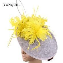 Feminino amarelo penas cinza millinery chapéus fascinator cópia linho derby kendeucky bonés nupcial casado elegante headpieces ocasião