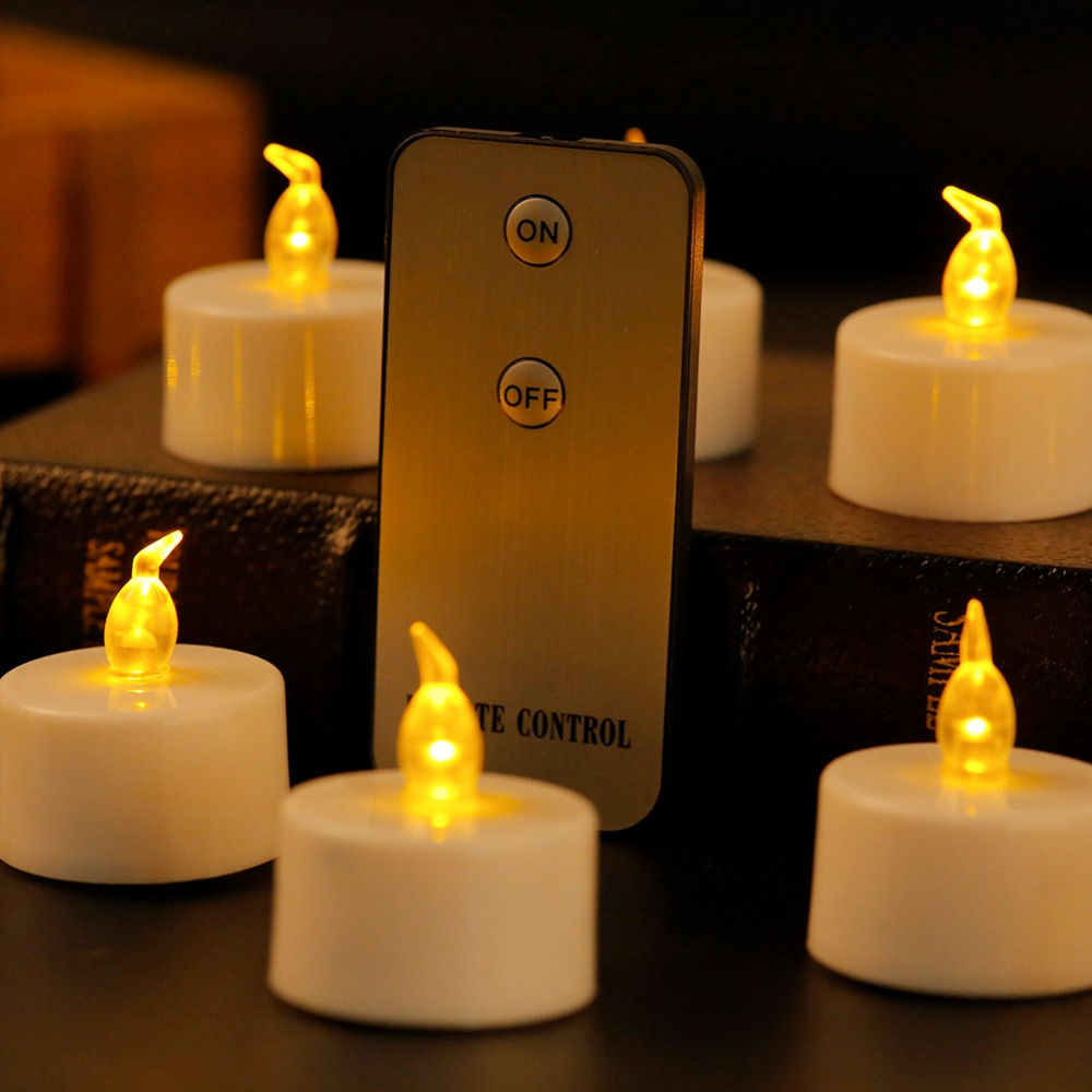 Pack of 6 Amber White velas led With Remote Control, Flameless kaarsen Battery candele Tea Light LED Candle Light For Christmas