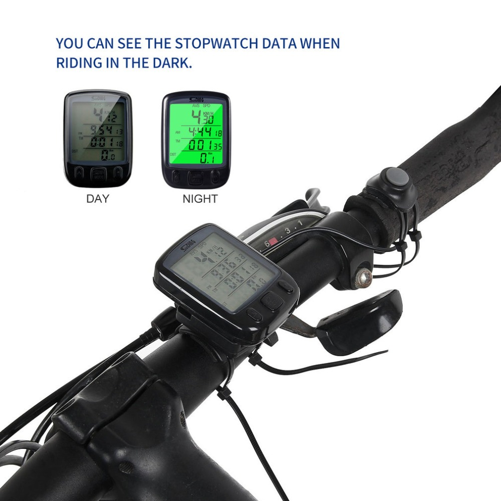Waterproof LCD Digital Counter Display Cycling Bicycle Computer Odometer Speedometer with Green Backlight SD 563B Timer Switch image