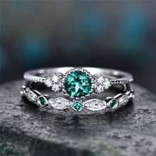 Charm  2Pcs/Set Green/Blue/Purple/Red Rhinestone Ring Luxury Crystal Couple Love Ring Engagement Ring Jewelry Gift L4U475 luxury women s crystal zircon ring red green gem ring round ring valentine s day gift cocktail party jewelry engagement ring