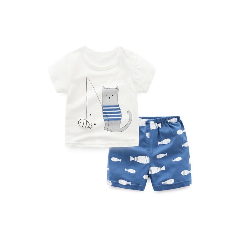 algodão recém-nascido bebê menino menina roupas de verão terno
