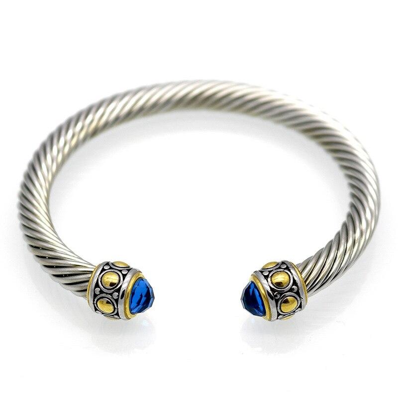 Fashion Vintage Zirconia Bangles Bracelets Retro Stainless Steel Open Clasp Cuff Bracelets Pulseras Jewelry For Women