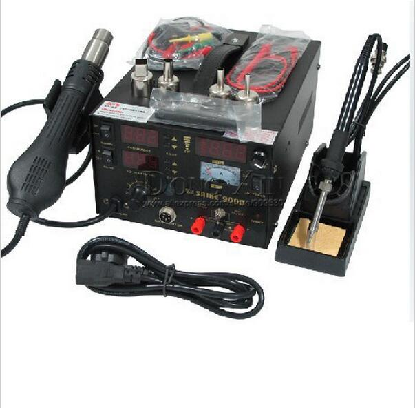 Free shipping 3 in 1 Saike 909D Solder Iron Soldering Station Heat Air Gun 110V or 220V Saike 909D Soldering Rework Station