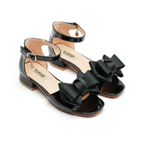 Girls Sandals For High Heels Summer Kids Princess Shoes Fashion Patent Leather Bow Children Red Black