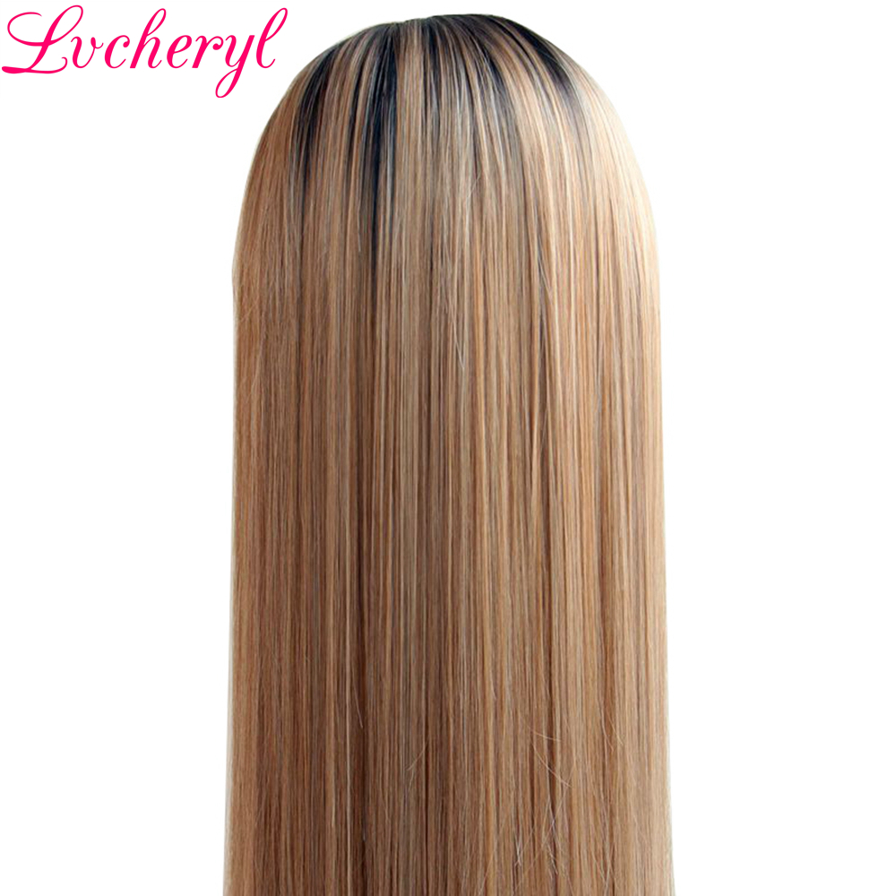 Lvcheryl Handbundet Ombre Brun Till Blond Färg Lång Rak Typ - Syntetiskt hår - Foto 4