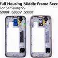 New Full Housing Set Middle Frame Bezel For Samsung S5 G900F / G900V / G900T Replacement Parts Repair Part Quality FreeShipping